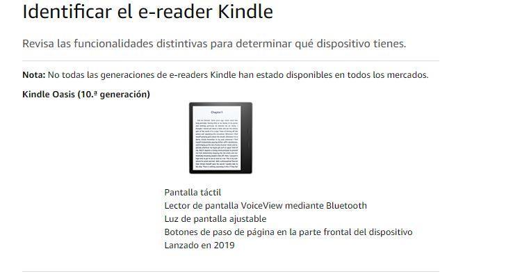 Identificar modelo Kindle para actualizar