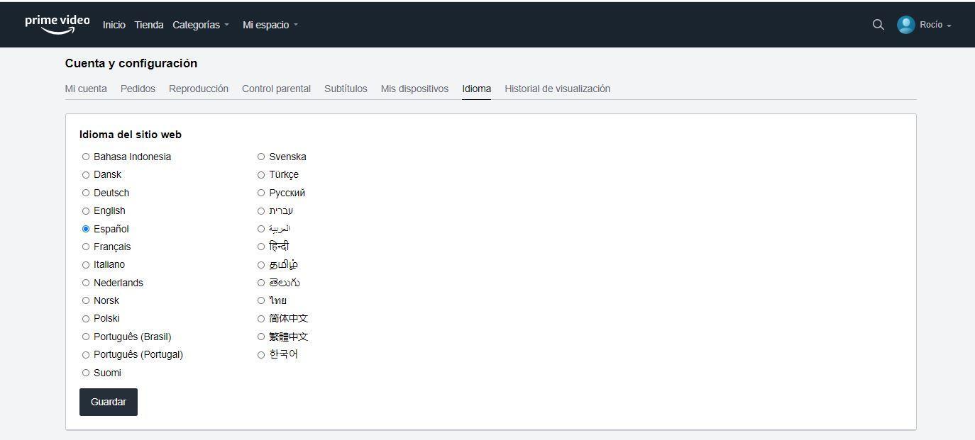 Ändern Sie die Sprache in Amazon Prime Video
