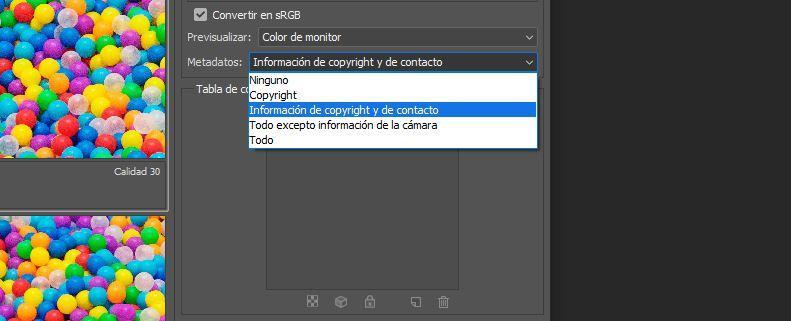 Información de guardar web