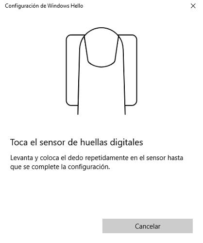 Windows Hello de huellas digitales
