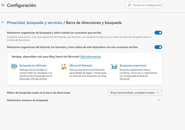 Motor de búsqueda Microsoft Edge