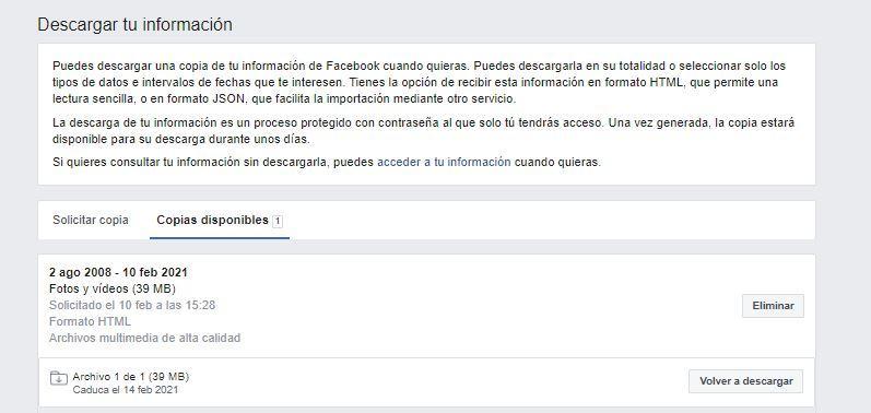 Informacio de Facebook