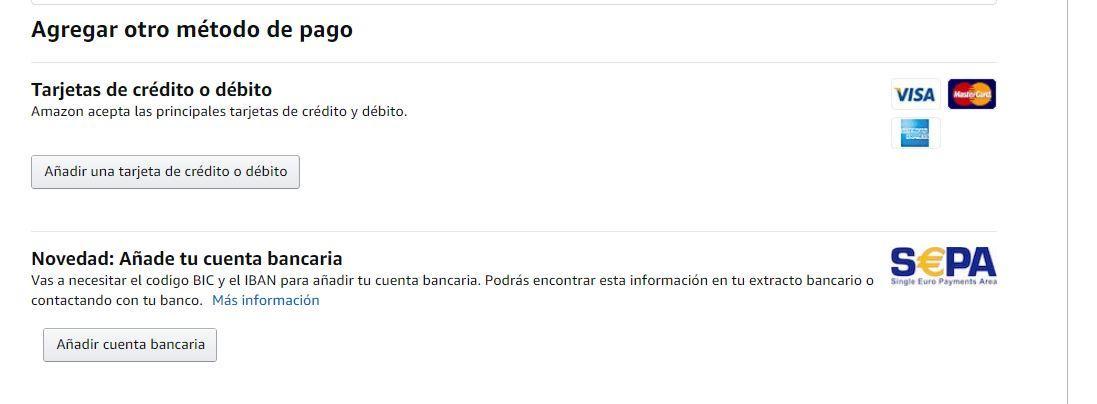 Agrgar metodo de pago en Amazon