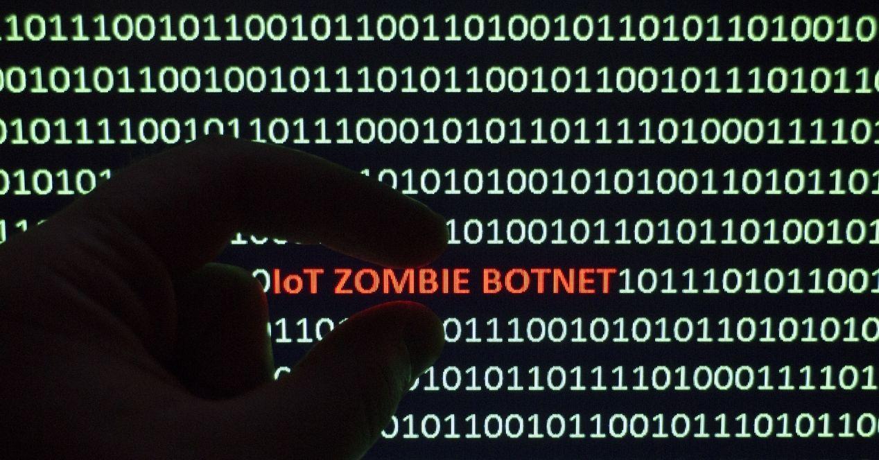 codigo binario con la expresion iot zombie botnet