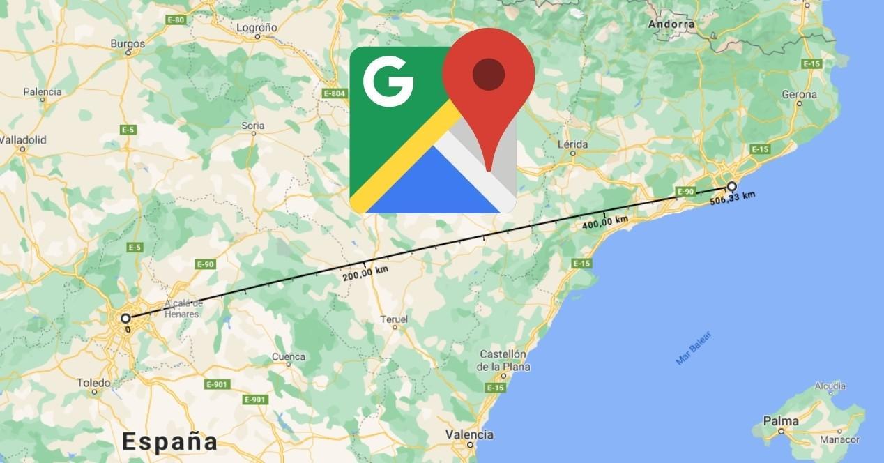 mapa de google maps para medir distancias entre dos puntos desde el ordenador con el logo