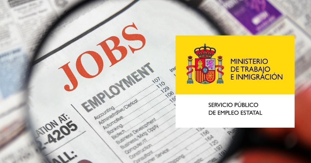 anuncios clasificados de empleo con el logo del sepe