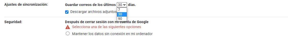 Seleccione los días de Gmail