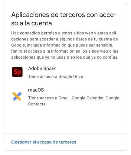 acceso rapido a aplicaciones de terceros con acceso a la cuenta de google