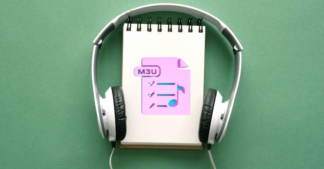 archivo m3u con unos auriculares