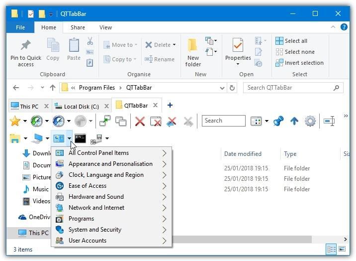 cinta de opciones en el explorador de archivos de windows