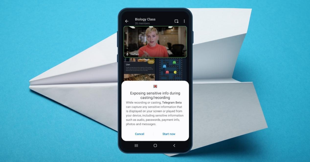 compartir pantalla en videollamadas telegram