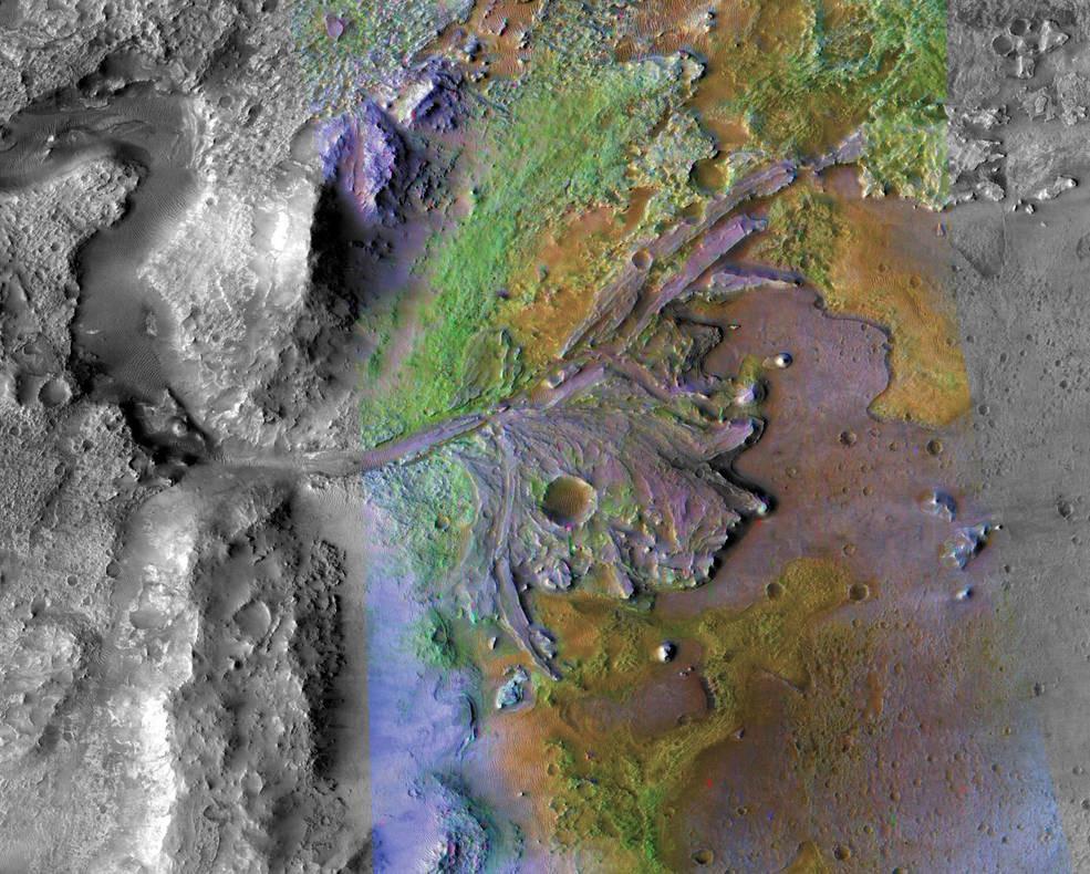 fotografía del cráter jezero