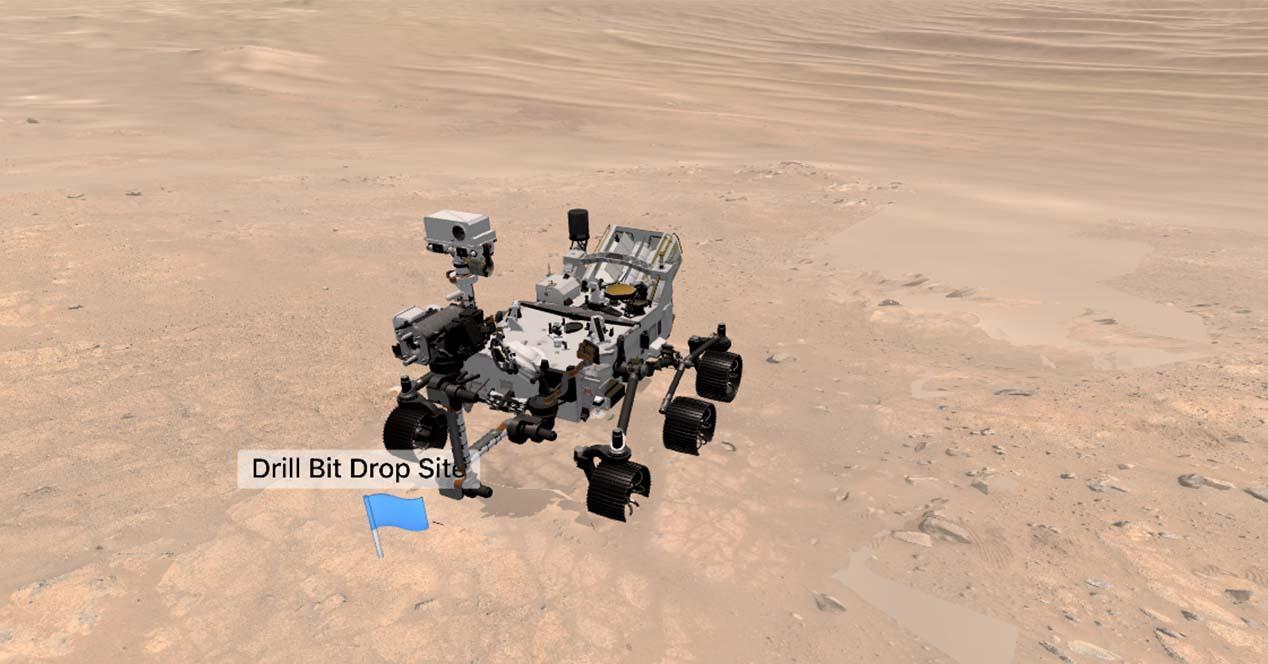 vista 3D del rover perseverance en Marte
