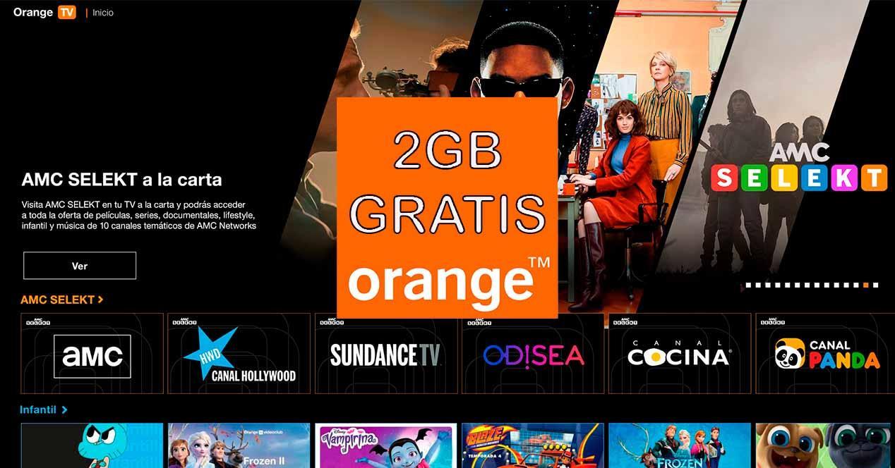 Bono de 2 gigas gratis con Orange TV
