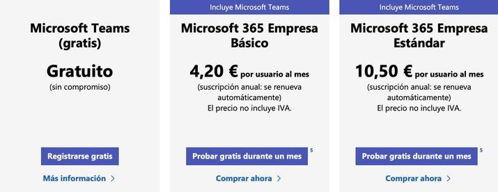 planes y precios de microsoft teams